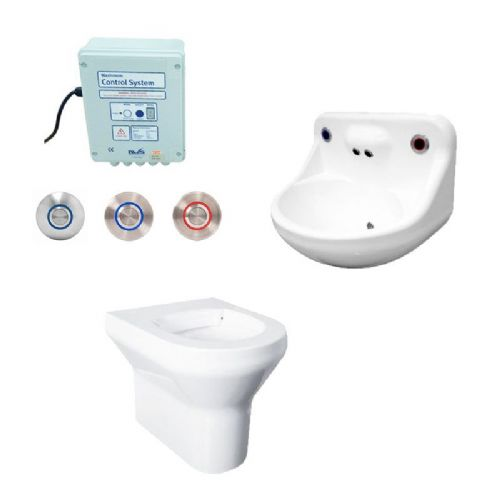 DVS Anti-Ligature High Risk Back-to-Wall Toilet & Basin Pack - Tactile Switch Controls